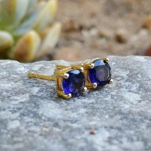 14kt Yellow Gold Plated Natural Iolite Studs